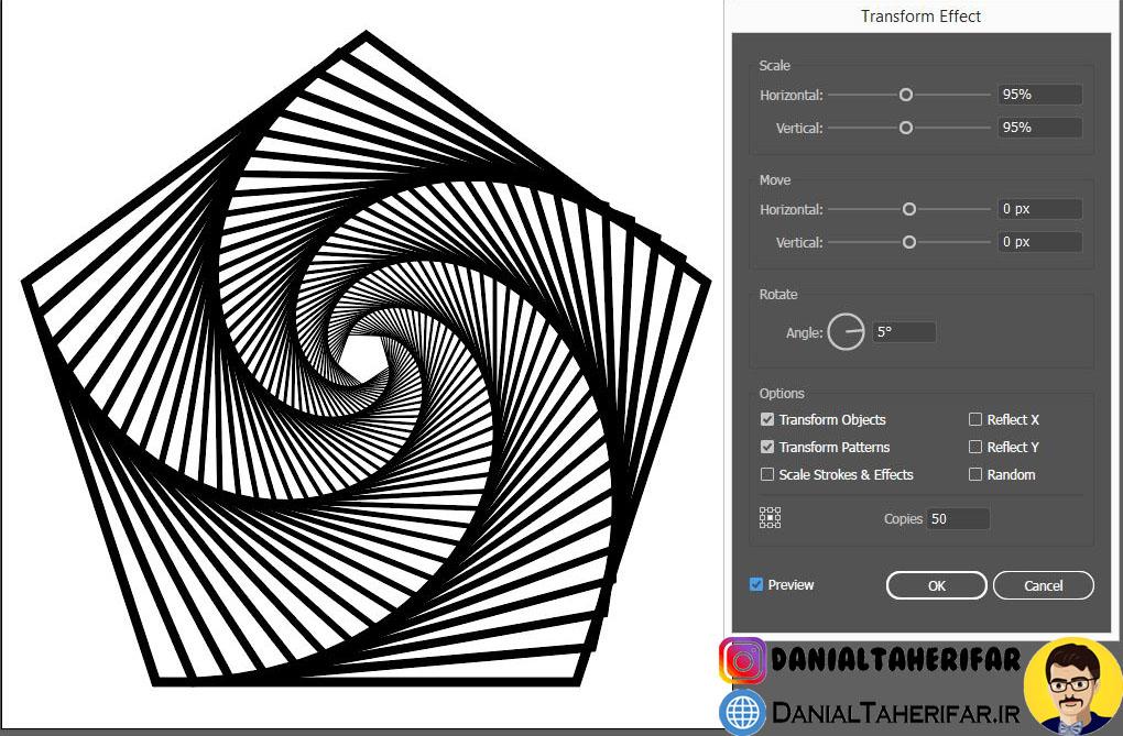تنظیمات یک آپ آرت در adobe illustrator