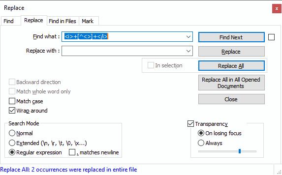 راه حل حذف متون قرار گرفته بین دو تگ یا عبارت در Notepad++
