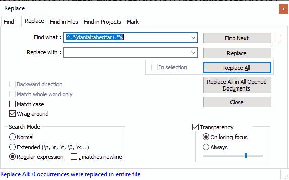 حذف خطوط شامل عبارت مد نظر در نرم افزار notepad++